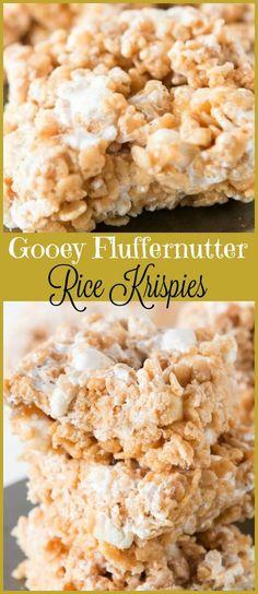 Gooey Fluffernutter Rice Krispies via (christmas sweets recipes rice krispies) Sweets Recipes, Just Desserts, Delicious Desserts, Cooking Recipes, Bar Recipes, Fudge Recipes, Candy Recipes, Popcorn Recipes, Frozen Desserts