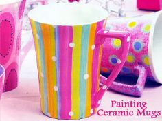 Painting Ceramic Mugs - Tutorial, Patterns and Tips