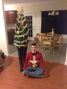 Tyler & I crafted our own ugly Christmas sweaters! #uglychristmassweater #couple