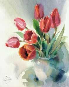 "Watercolor painting ""Red Tulips"" by Julia Kirilina - Aquarelle - Watercolor Cards, Watercolor Flowers, Watercolor Paintings, Watercolors, Beach Watercolor, Tulip Painting, Painting & Drawing, Red Tulips, Flower Art"