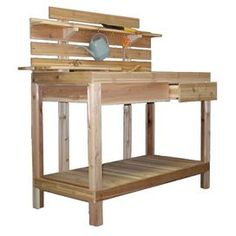 """Transform your home into a lush botanical retreat with this gardening essential.    Product: Potting bench    Construction Material: Wood    Color: Clear cedar   Features:  Eye level shelf    Made in the USA    Perfect gift for the avid gardener or one just learning to love gardening  Dimensions:  55"""" H x 48"""" W x 25.5"""" D"""