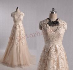 Hey, I found this really awesome Etsy listing at https://www.etsy.com/listing/237497100/champagne-lace-wedding-dresses-champagne