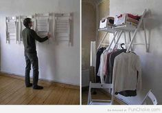 No storage space? No problem! Hang some chairs on the wall to create a make-shift closet. | 25 Unexpectedly Genius Household Hacks You'll Wish You'd Thought Of First