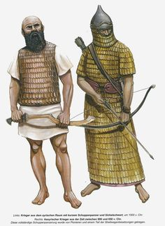 On the left, a Canaanite warrior, 15th cent B.C., on right - an Assyrian heavy…
