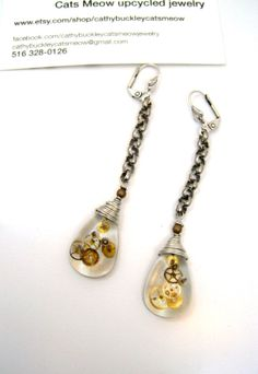 Steampunk handmade resin earrings by cats by cathybuckleycatsmeow, $30.00