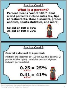 Percents Task Cards Quiz and More Novice - In this 52 page packet, you will will receive lots of activities for your students to learn how to convert fractions, decimals, and ratios into percents. You will receive four anchor cards, 40 task cards, student response form plus key, 40 game cards, game card ideas, matching game form plus key, and a final quiz.  CCSS.Math.Content.5.NF.B.3  CCSS.Math.Content.6.RP.A.3c #taskcards #math #printable