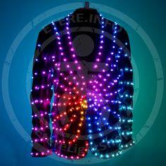 LED light up stylish disco party jacket costume   Glow futuristic festival  jacket suit   LED light up burning man clothing - by ETERESHOP 54f49100c