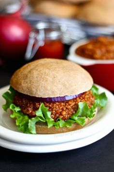 Sloppy Joe's with Quinoa (gluten free Vegan) A classic family meal without meat but made with protein packed quinoa! An easy meatless meal!