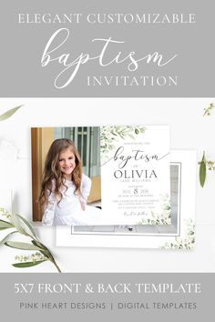 Send a beautiful baptism invitation to friends and family to announce your daughter's baptism day! This elegant floral baptism invitation will highlight your daughter's special baptism portraits. Your information and photos can be added in minutes by you! Easily edit in your web browser, no software needed!  Click to DEMO design now! #baptisminvitation #ldsbaptism #girlbaptism #floralbaptism #ldsbaptisminvitation #ldsinvitation Baptism Announcement, Birth Announcement Template, Baptism Invitations Girl, Pink Invitations, Costco Home, Girl Baptism, Lds, Special Day, Highlight