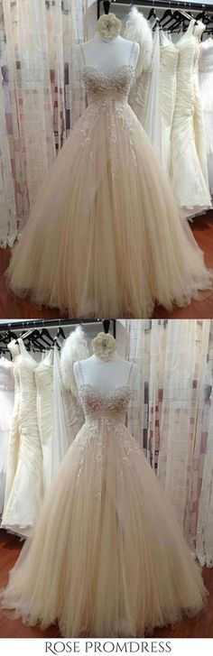 Ivory tulle lace sequins A-line dress with straps wedding dresses, This dress could be custom made, there are no extra cost to do custom size and color Chic Wedding Dresses, Wedding Dresses With Straps, Beautiful Prom Dresses, Gorgeous Wedding Dress, Bridal Dresses, Ball Dresses, Ball Gowns, Tulle Lace, Cheap Dresses