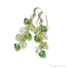 EMERALD KISS Bright Green Swarovski Crystal by whimsydaisydesigns, $24.00