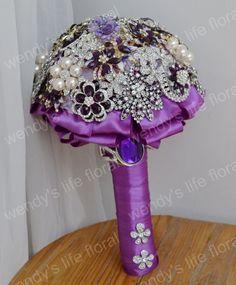wedding brooch bouquet purple by Wendyslife on Etsy