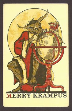 Merry Krampus searching for bad kids Postcard Carte Postale Postkarte,, #Christmas