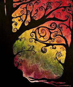 Tree of life zentangle Silhouette Art, Art Abstrait, Art Plastique, Tree Art, Tree Of Life, Oeuvre D'art, Painting Inspiration, Art Lessons, Painting & Drawing