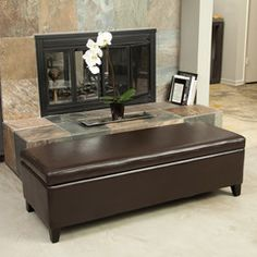 Hudson Brown Leather Storage Ottoman