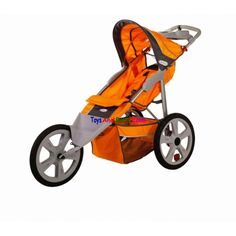 """inStep Flash Fixed Jogger Orange And Gray 11-AR108inStep Flash Fixed Jogging Stroller Orange And Gray 11-AR108Description: Flash Fixed Wheel Single Jogging Stroller-Bicycle-style hand brake gives stopping power and dual trigger folding mechanism offers uncompromising safety.16"""" pneumatic tires with molded rims provide performance and styleMolded parent tray with two cup holders adds… $104.49"""