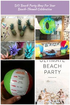 Pretty Painted Pineapples | Amazing DIY Beach Party Ideas Beach Party Ideen DIY Beach Party Ideas For Your Beach-Themed Celebration Youre Invited, Beach Party, Beach Themes, Christmas Bulbs, Celebration, Party Ideas, Invitations, Holiday Decor, Amazing