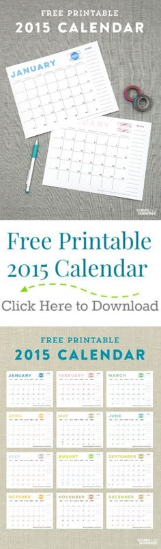 Free 2015 Printable Calendar | TodaysCreativeBlog.net