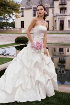 Weddbook ♥ Strapless satin gathered wedding dress with thin belt, embroidered bust and pick-up ruffled skirt by Group USA