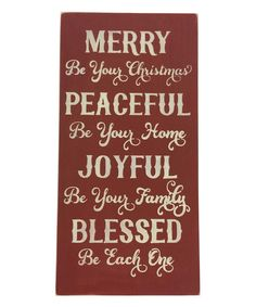 Look what I found on #zulily! Red 'Merry Be Your Christmas' Wall Sign by Sara's Signs #zulilyfinds