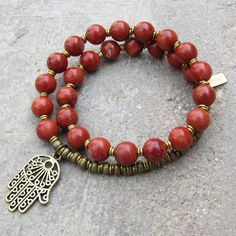 Grounding, root chakra, genuine Red Jasper 27 bead mala bracelet™ with – Lovepray jewelry
