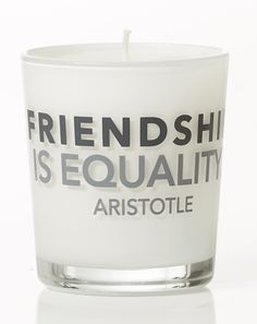 Friendship is equality - Aristotle. Scented Candles, Pillar Candles, Greek Words, English Words, Equality, Friendship, Greek Sayings, Social Equality, Candles