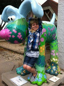 Thom Clarke and Blossom, the hopeful bidder of £11.57 for the Blossom Gromit at the Gromit Unleashed Auction on October 4th.  It finally sold for £24,000, but my little boys letter made him a star, says a Bristol Pinner Nicola Clarke.