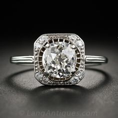 1.55 Carat Old Mine-Cut Diamond Antique Ring