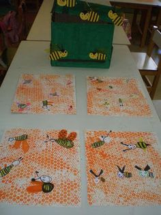 Bees and Bee Keepers Spring Art, Spring Crafts, Bee Crafts, Crafts For Kids, Bees And Wasps, Bee Art, Bee Keeping, Elementary Art, Honeycomb