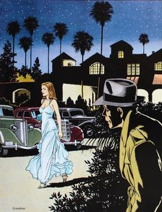 "Bacall and Bogart in ""The big Sleep"", Illustration by Vittorio Giardino"