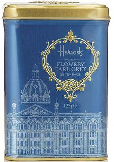 ✿⊱╮(¯`★´¯)Harrods Flowery Ear Grey Tea Caddy.Too gorgeous! Branding And Packaging, Tea Packaging, Identity Branding, Visual Identity, Harrods, Chai, Tea Tins, Tea Canisters, Earl Grey Tea