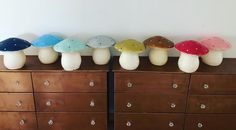 Secotine Home toadstool lamps in many colors  #secotinehome #design #lamps #kids #animals