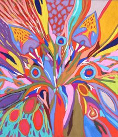 """Tableau """"aTableau """"Fleur d'artifice rouge"""" de Vincent Dufour - Pastel sec de 50/65cm [tableau de style figuration libre et nouvelle figuration]Fleur d'artifice rouge"""" de Vincent Dufour - Pastel sec de 50/65m [tableau de style figuration libre et nouvelle figuration]"""
