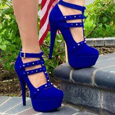 Rivet Platform Stiletto Heel T-Shaped Buckle Women's Pumps - Women Shoes Blue High Heels, High Heel Boots, Shoe Boots, Women's Shoes, Platform Stilettos, Women's Pumps, Stiletto Heels, Pretty Shoes, Cute Shoes