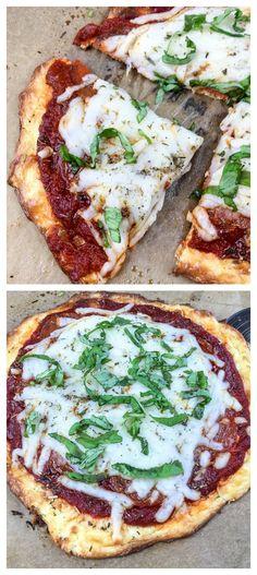 Keto Basil Pizza Recipe made with cream cheese! YUMMY! via @isavea2z