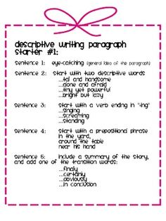 descriptive writing for middle school