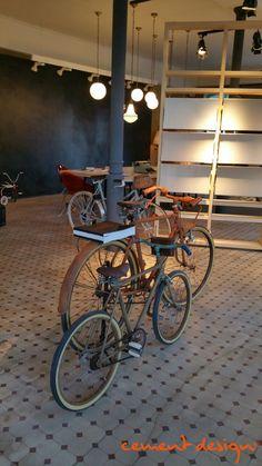 Cement Design Lugo #showroom #cementdesign Cement Design, Bicycle, Showroom, Interiors, Bike, Bicycle Kick, Bicycles, Fashion Showroom
