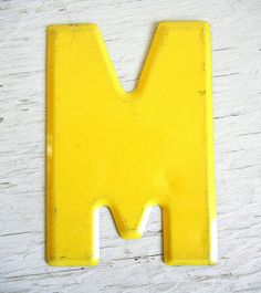 Metal Letter M Industrial Signage Yellow by PeppermintBark