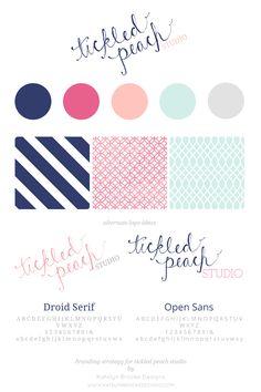 Tickled Peach Studio, by Katelyn Brooke Designs. @Kathy - Tickled Peach Studio #branding #logo #color