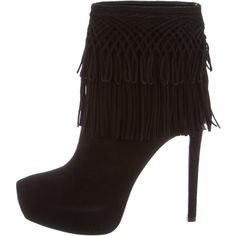 Pre-owned Christian Dior Fringe-Accented Platform Ankle Boots ($325) ❤ liked on Polyvore featuring shoes, boots, ankle booties, black, black suede boots, platform booties, black ankle boots, black fringe booties and black platform boots