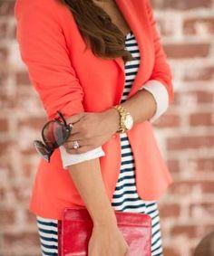 Orange blazer and striped dress