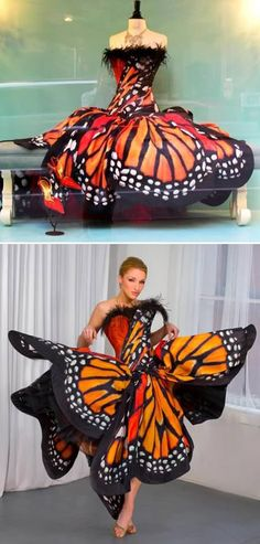 Butterfly dress. Luly Yang. Couldn't resist. Did you know that the Monarch butterfly populations is getting smaller and smaller?
