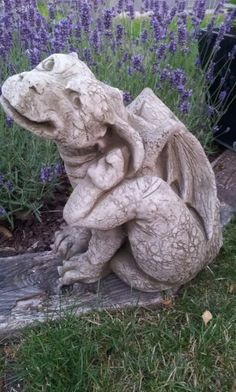 Backyard dragon sniffing the lavender.