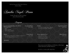 Piano Recital Program by Brian Tepfenhart, via Behance