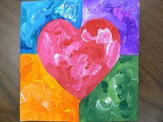 Heart Themed Square 1 Art                 Here are some examples of our square 1 art fundraiser projects. We traced a heart in the middle and then drew a horizontal and vertical line. We mixed each color with white to create the textured look.
