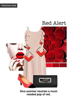 Red Alert - Buy Beige Dresses, Red Earrings with Black Clutches Scrapbook Look by Gouher