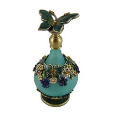victorian perfume bottles | Collectible butterfly perfume bottle bejeweled Victorian style green ...