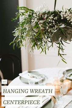 Tips For Just A Second Wedding Ceremony Anniversary Reward Diy Hanging Eucalyptus Wreath Centerpiece For Casual, Low-Key Holiday Entertaining. Get The Full Craft Tutorial On Christmas Holidays, Christmas Wreaths, Christmas Decorations, Table Decorations, White Christmas, Low Key, Eucalyptus Wreath, Do It Yourself Crafts, Diy Hanging
