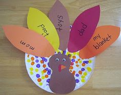 Thankful Turkey!  SUPPLIES:  Paper plates, construction paper, markers, googly eyes and glue ::: Create a cute turkey with your Little that includes people and things they are thankful for this holiday season.