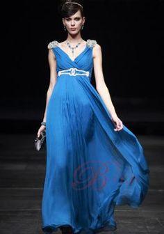 Cheap A-line V-neck Floor-length Chiffon Blue Sequin Dresses EDU80585